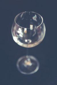 clear long-stemmed wine glass